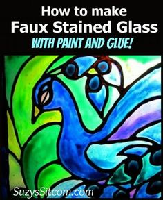 How to make faux stained glass using a framed picture with glass, white glue, clear glue, acrylic paints, black sharpie pen, craft blade, super glue and clear acrylic spray sealant, pattern from coloring book.