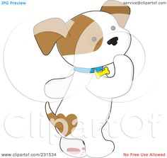Royalty-Free (RF) Clipart Illustration of a Cute Puppy Dog Walking On His Hind Legs And Thinking by Maria Bell