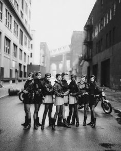 NOSTALGIA: Cindy Crawford, Tatjana Patitz, Helena Christensen, Linda Evangelista, Claudia Schiffer, Naomi Campbell, Karen Mulder, and Stephanie Seymour in Gianni Versace Photographed by Peter Lindbergh for the September 1991 Issue of Vogue