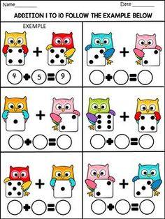 Back to school - math fun activities - 77 pages - color and b/w Fun Math Activities, Kindergarten Math Worksheets, Preschool Printables, Preschool Learning, Teaching Math, Math Games, Math Addition, 3rd Grade Math, Math For Kids