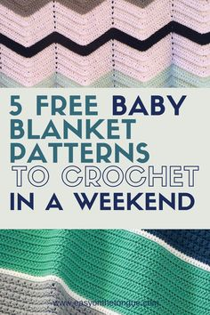 Are you looking for a quick and easy crochet baby blanket pattern? In this post, I shared 5 adorable baby blanket patterns. All the patterns are free Easy Crochet Projects, Crochet Blanket Patterns, Baby Blanket Crochet, Crochet Baby, Crochet Ideas, Crochet Afghans, Crochet Blankets, Free Crochet, Simple Crochet