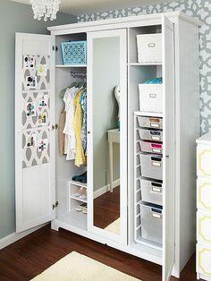 A Zamira Allover stenciled accent wall in a closet. http://www.cuttingedgestencils.com/moroccan-stencil-designs.html