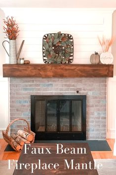 Super easy fireplace mantle update that adds a major wow factor with a farmhouse vibe! Check out how to build your own faux beam fireplace mantle. Rustic Fireplace Mantle, Fireplace Beam, Build A Fireplace, Brick Fireplace Makeover, Home Fireplace, Fireplace Remodel, Fireplace Design, Building A Mantle, How To Build A Mantle