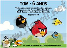 Convite Angry Birds 1  :: flavoli.net - Papelaria Personalizada :: Contato: (21) 98-836-0113 vendas@flavoli.net Festa Angry Birds, 98, Comics, Personalized Stationery, Ticket Invitation, Cartoons, Comic, Comics And Cartoons, Comic Books