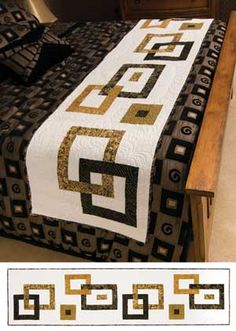 Chain Reaction Bed runner and table runner kit from Keepsake Quilting Table Runner And Placemats, Table Runner Pattern, Quilted Table Runners, Bed Runner, Colchas Quilting, Skinny Quilts, Modern Table Runners, Bed Scarf, Place Mats Quilted