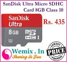 SanDisk Ultra Micro SDHC Card 8GB Class 10 Rs. 435 Memory Storage, Memories, Cards, Fun, Memoirs, Souvenirs, Maps, Playing Cards, Remember This
