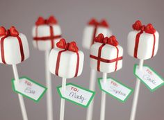 Pretty presents cake pops    Excerpted from Cake Pops Holidays: By Bakerella by Angie Dudley. Published by Chronicle Books Copyright © 2012.