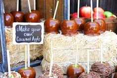 Caramel apple station ideas. Love the little bales of hay :)