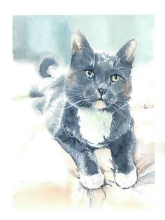 Blue tuxedo cat, watercolor cat portrait