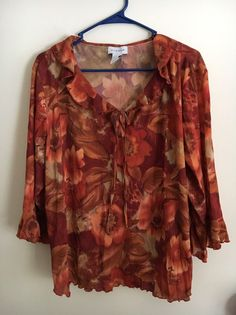 6d7bae8e89f95 Avenue Women s Plus Peasant Blouse Top Size 22 24 2X Orange Red Floral