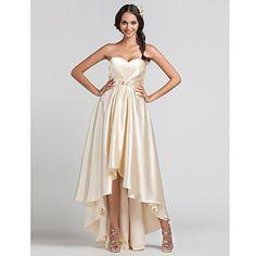 Sheath/Column Sweetheart Asymmetrical Stretch Satin Bridesmaid Dress – USD $ 129.99