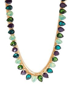 $29.99 Love this Green Crystal & Gold Teardrop Necklace on #zulily! #zulilyfinds