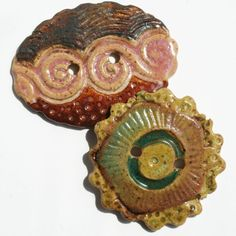 Handmade Ceramic Buttons  Set of 2 by LisaPetersArt on Etsy, $14.00
