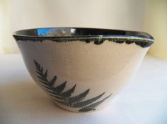 Fern Mixing Bowl, Small Mixing Bowl with Spout, Dark Evergreen with Snowflake Interior, Sword Fern Design