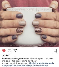 Nail Color Combos, Fall Nail Colors, Best Toe Nail Color, Stylish Nails, Trendy Nails, Dipped Nails, Neutral Nails, Color Street Nails, Nagel Gel