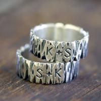 Personalized Sterling Silver Tree Bark Ring  Custom initials sterling silver tree bark ring. >> These are so unique and so beautiful! via Monkeys Always Look