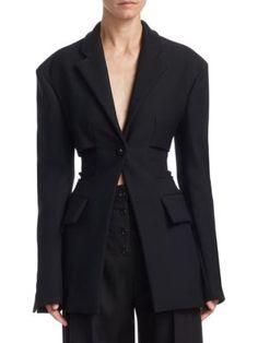 Proenza Schouler One Button Blazer Lace Pants, Poplin Dress, Proenza Schouler, Suit Jacket, Buttons, Pullover, Blazer, Coat, Long Sleeve