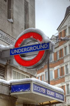 Leicester Square Tube in the snow, London