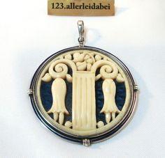 Rarität Jugendstil Emaille Bein Anhänger 830 er Silber Art Nouveau / AU 264