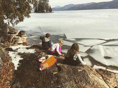 Icy lake. Beautiful morning on lake George.