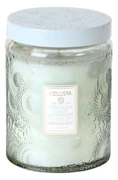 This Voluspa candle has such a chic scent with notes of French cade wood with verbena and Bulgarian lavender.