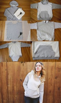 DIY Lace Hoodie - But I wouldn't remove the sweatshirt part, I would just add the lace over it and then reattach the pocket.