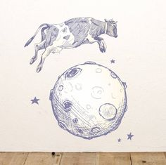 Cow Jumps Over The Moon Wall Sticker
