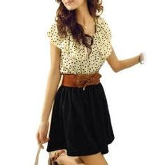 Allegra K Woman Beige Black Scoop Neck Dotted Shirred Waist Dress XS
