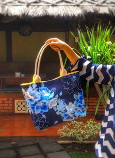 Navy Blue Flowery Bag