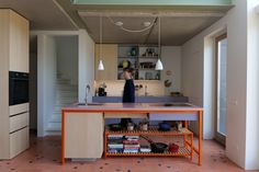 Kitchen (Client installation) with David & Goliath cement tile Noah Rosé / Black 20x20cm in combination with Uni tiles in colour Rosé. Project: Bram Oosterhuis Picture: Paul Swagerman David And Goliath, Cement Tiles, Uni, Colour, Kitchen, Modern, Projects, Furniture, Black