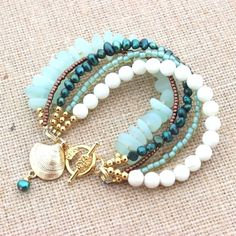 Mermaid Bracelet Sea Glass Bracelet Beach Womens with Shell Charm Beach Ocean Lover Jewelry Mother's Day Gift Present for Mom Sea Glass Beach Womens Armband von InspiredTheory bei Etsy Wire Jewelry, Jewelry Crafts, Beaded Jewelry, Jewelery, Jewelry Ideas, Glass Jewelry, Pandora Jewelry, Crystal Jewelry, Beach Bracelets