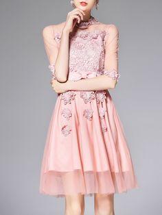 #AdoreWe OULIE Pink Half Sleeve Stand Collar Cocktail Appliqued Mini Dress - AdoreWe.com