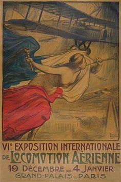 6ème exposition internationale de locomotion aérienne - Grand Palais - Paris - 1919 - illustration de D. Charles Fouqueray -