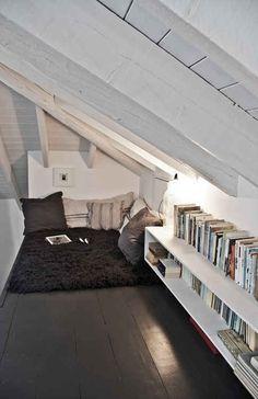 21 Cozy Makeshift Reading Nooks. I like the idea of having it in the attic.