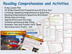 Reading Comprehension, Text, Sentence /Word/Grammar & Presentations, Lesson Plans 1-5 & Worksheets