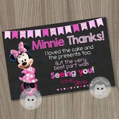 Minnie Mouse Thank You Card, Minnie Mouse Birthday, Minnie Mouse Party, Minnie Mouse card, Minnie Mouse Pink by CutePixels on Etsy