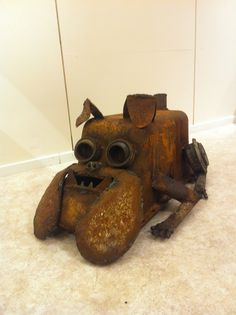 Rusty the bulldog Junk Art, Welding Art, Metal Art, Wooden Toys, Car, Wooden Toy Plans, Wood Toys, Automobile, Woodworking Toys