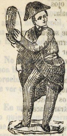 Hombres de pie y con sombrero, tocando una pandereta.