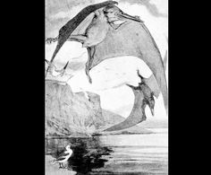 Pteranodon  by Alice B. Woodward (1862-1951)  from Nebula to Man  1905 England