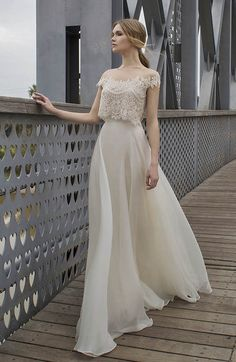 Lace two-piece wedding dress by Limor Rosen Bridal-- rehearsal dinner?