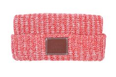 This cuffed beanie is knit from 100% cotton yarn in white, dark red, red, and pink colors and features a brown leather patch debossed with the Love Your Melon logo. One size fits all. Made in the USA.