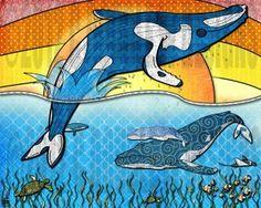 Items similar to Playful Whales in the Ocean on Etsy Ocean Drawing, Whale Drawing, Line Drawing, Ocean Themed Nursery, Nursery Themes, Save The Whales, California Art, Animal 2, Ocean Themes