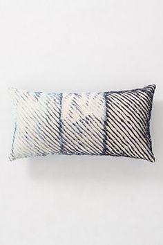 Anthropologie - Spliced Shibori Cushion | faded textile design, indigo home, striped cushion