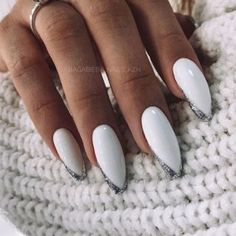 White Manicure, Nail Manicure, White Nails, Nail Polish, Popular Nail Designs, Creative Nail Designs, Creative Nails, Coffin Nails, Acrylic Nails