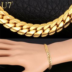 Gold Plated Chain Bracelet Men Jewelry Gift Wholesale 3 Colors Trendy 6MM Wide Chain & Link Bracelet H339