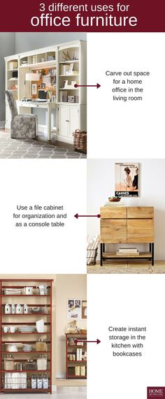 Office furniture isn't just for the home office. We've got three ways you can use it elsewhere. The Edinburgh Office Center helps create an office area when there's not a specific room for it. If you need to organize documents but don't have a an office for it, try a file cabinet like the Anjou in your living room or entryway. And keep in mind, bookcases can hold more than just books! Great for homes with little to no cabinet or pantry space. Shop Home Decorators Collection at The Home…