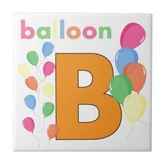 Balloon Letter B Ceramic Tiles  #Alphabet #Kids #Tile