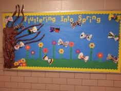 Spring Butterfly Bulletin Board  (Butterflies made from paper towels, clothespins, and designed with markers by students.)
