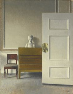 Vilhelm Hammershøi DANISH 1864 - 1916 INTERIOR WITH A BUST oil on canvas 53 by 42cm., 21 by 16½in.