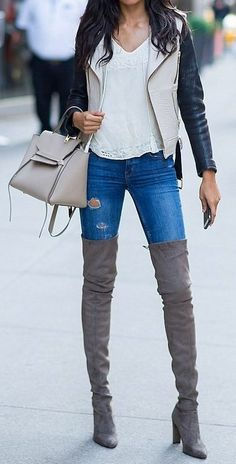 #thanksgiving #outfits White Lace Top // Black Bomber Jacket // Leather Tote Bag // Faux Suede Over The Knee Bots // Ripped Skinny Jeans